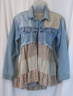 embellished denim jacket jean jacket bohemian by LamaLuz on Etsy (Diy Clothes Makeover) Sewing Clothes, Diy Clothes, Clothes Refashion, Jeans Refashion, Refashioned Clothes, Diy Jeans, Recycle Jeans, Mode Hippie, Diy Vetement