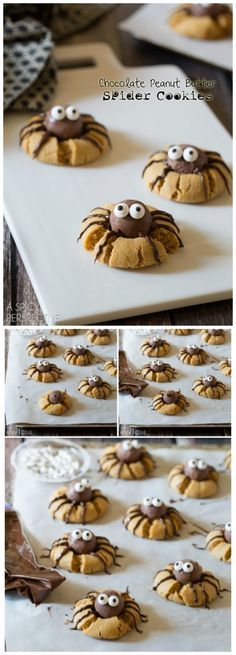 Chocolate Peanut Butter Spider Cookies that are creepy and delightful. These spider cookies are my first Halloween offering this year, so I wanted to make sure to give you a recipe that was frightfully delicious! Use gf ingredients) Halloween Food For Party, Halloween Treats, Halloween Baking, Halloween Chocolate, Halloween Desserts, Halloween Costumes, Fall Recipes, Holiday Recipes, Scary Halloween
