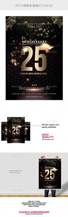 Church Anniversary Flyer a great promotional template for all of your Event. Church Anniversary Flyer PSD file Print Ready Layers are well organized Picture is not included in the Main File Link to the fonts are included in the help.file Flyer size is 46 with