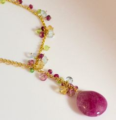 Tourmaline,Aquamarine,Citrine,Peridot and Pink Topaz