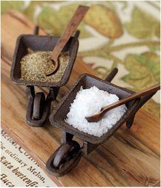 Cutest salt & pepper holders I've ever seen! From Pottery Barn
