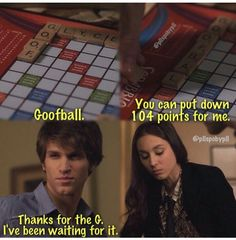 "Toby Cavanaugh and Spencer Hastings quote ""Thanks for the G. I've been waiting for it."" The beginning of Spoby! PLL"