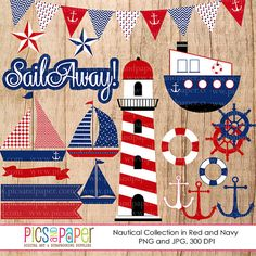 Nautical Clipart in Red and Blue - includes sailboats, anchors, penant banner and more. Great for invitations, card making, scrapbooking and more. Nautical Clipart, Anchor Pictures, Nautical Party, Tug Boats, Decoupage Paper, Red And Blue, Navy Blue, Kids Cards, Baby Quilts