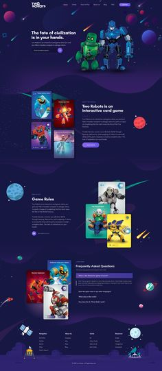 """Design """"two robots"""" - a card game website (awesome images included! Design Your Own Website, Website Design Layout, Layout Design, Website Design Inspiration, Game Card Design, Template Web, Card Ui, Web Design Examples, Space Artwork"""