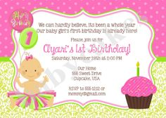 1st Birthday Invitation Tutu Princess - DIY Print Your - Matching Party Printables Available on Etsy, $11.00