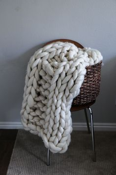Merino Wool Thick Knit Blanket by SarahLouCo on Etsy – Finger Knitting Blanket Knitted Blankets, Merino Wool Blanket, Finger Knitting Blankets, Le Cloud, Chunky Knit Throw, Chunky Knits, Luxury Throws, Decoration, Etsy Seller