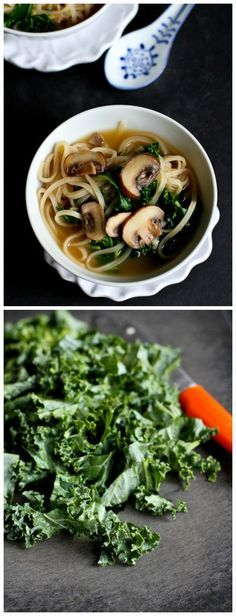 30-Minute Rice Noodle Soup with Mushrooms and Kale {Vegan}...Healthy and easy for busy nights! 236 calories and 6 Weight Watchers PP