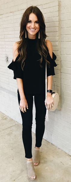 #spring #outfits Black Open Shoulder Top & Black Skinny Jeans & Grey Open Toe Booties cute outfits for girls 2017