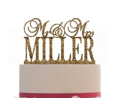 Personalized Mr and Mrs Custom Wedding Cake Topper with your last name, Choice of color and FREE base for display