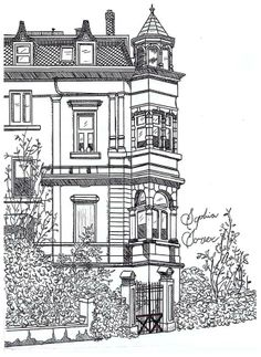 Pretty house downtown Pencil Sketch Drawing, Doodle Art Drawing, Pencil Art Drawings, Detailed Coloring Pages, Colouring Pages, Coloring Books, House Doodle, Pop Up Art, Geometric Drawing