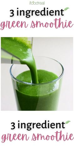 This Green Smoothie with 3 simple ingredients is healthy, easy and tastes sweet, creamy and delicious, so your entire family will enjoy! Make it for breakfast, snack or instead of a salad to make dinner a complete meal. Kale And Spinach Smoothie, Veggie Smoothie Recipes, Vegetable Smoothies, Healthy Fruit Recipes, Strawberry Kale Smoothie, Kale Juice, Green Drink Recipes, Cucumber Smoothie, Diet Recipes