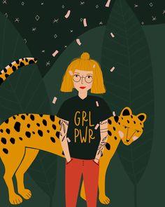 "Tanja von Die Handletterei on Instagram: ""#funwithfaces #celebratelife #celebratewomen 🐆🌿 >>> Challenge powered by @charlyclements . . . #illustrationart #grlpwr #girlpower…"""