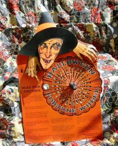Bethany Lowe Halloween Witch Fortune Wheel Game Tin