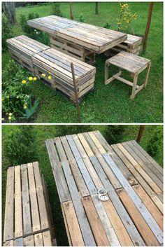Pallet Garden Table And Bench #Garden, #PalletBench, #PalletTable, #RecycledPallet
