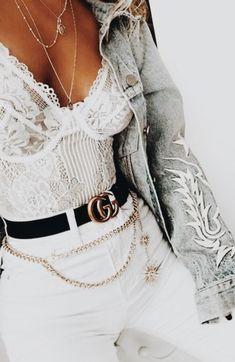 white lace bodysuit + white skinny jeans + gucci belt + levi's denim jacket | outfit ideas