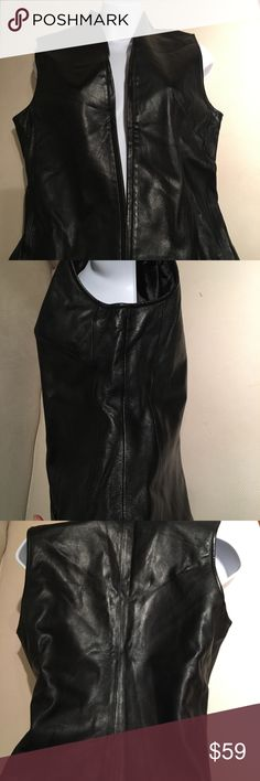 Tailored black leather vest Tailored black leather vest. Covered zipper closure. 100% leather. Soft leather feels like sheep Mixit Tops