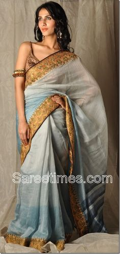 Very trendy, love the arm jewelry. Chanderi Cotton Saree -- LOVE!