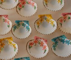painted seashells   I thought of your artist daughter and your tea parties. I can see pretty candies in these.
