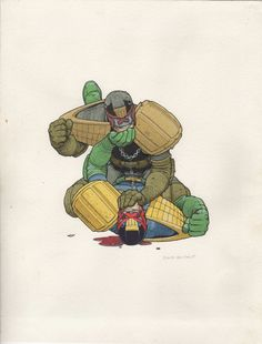 2000ad Judge Dredd painted by Frank Quitely  Comic Art