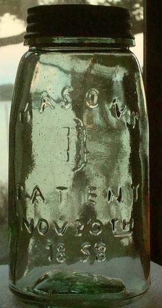 Quart MASON PATENT 1858 Canning Fruit Jar Apple Green #ColonialTinWorks #MasonsPatentNov30th1858CanningFruitJar