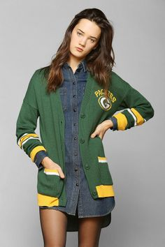 Junk Food Green Bay Packers NFL Cardigan - could be a present for my sister. Green Bay Packers Fans, Packers Football, Greenbay Packers, Football Memes, Football Baby, Football Season, Junk Food, Urban Outfitters, Sport