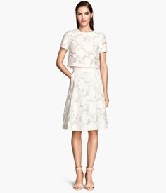 White embroidered skirt and blouse set || H&M