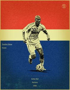 world cup fifa golden ball winner poster illustation Zindeine Zidane Germany 2006