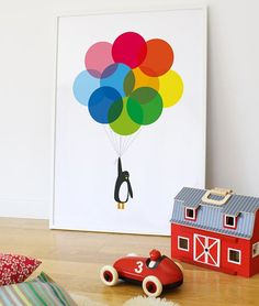 Mr Penguin Balloons Print - I want to make for Wes when they have a little one