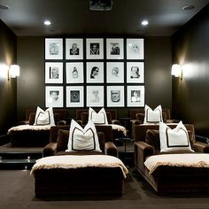 Basement Movie Room - Traditional - basement