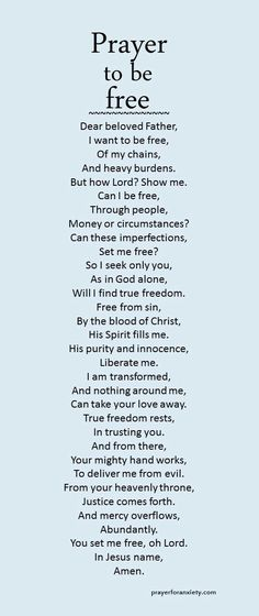 Prayer to be free