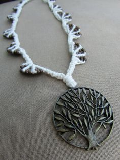 Tree of Life Macrame Hemp Necklace with by PerpetualSunshine111, $36.00