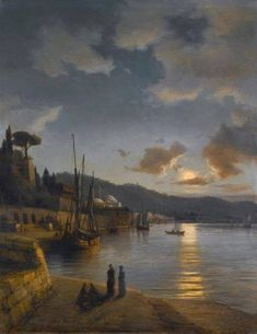 Anton Melbye (1818-1875) - A Turkish Harbour by Moonlight (1864)