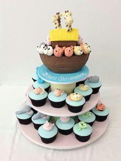 Noah's ark cake and cupcakes