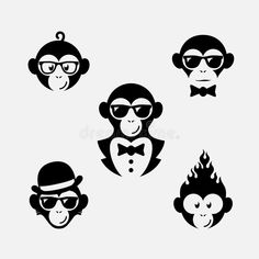 Illustration about Set of funny logo design templates with monkey. Illustration of label, cartoon, illustration - 61946121 Photos Singe, Monkey Pictures, Three Wise Monkeys, Monkey Tattoos, Monkey Art, Year Of The Monkey, Funny Tattoos, Logo Design Template, Logo Inspiration