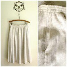 gauze skirt natural beige linen look gathered flared 2