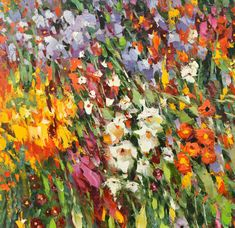 Flowers Oil Painting Abstract Painting Canvas Art by spirosart