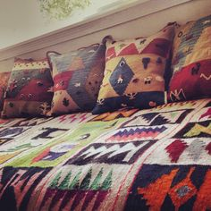 Vintage Peruvian Textiles for the daybed.
