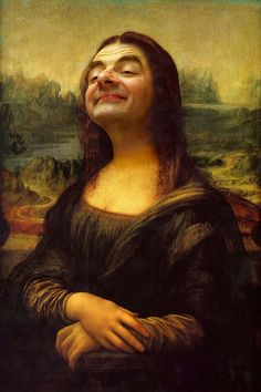 Mona Lisa highjacked by Mr Bean! I'm not exactly sure why this crazy photo-manipulation of Mr Bean as Leonardo Da Vinci's Mona Lisa has. Mr. Bean, Funny Art, Funny Pics, Funny Pictures, Hilarious, Funniest Pictures, Art Pictures, Funny Memes, Mona Lisa Parody