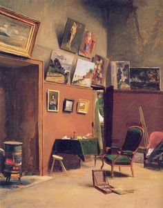 Studio in the Rue de Furstenberg (1865). Frédéric Bazille (French, 1841-1870). Oil on canvas. Musée Fabre, Montpellier, France. Bazille shared the studio with Monet. Although Bazille is absent, his box of paints, palette, and brushes are visible. He depicts his daily world with great economy. The work pays subtle tribute to Monet whose Honfleur landscapes painted in 1864 adorn the walls.