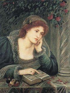 'Beatrice' (1895) by Marie Spartali (1844-1927). Delaware Art Museum, Wilmington, Delaware. #reading, #books