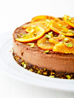 Candied Orange & Pistachio Raw Chocolate Cake