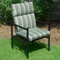 Plantation Patterns Hampton Bay Spa Stripe Deluxe High Back Outdoor Chair Cushion available at The Home Depot. Outdoor Dining Chair Cushions, Patio Chairs, Outdoor Furniture, Outdoor Decor, Lumbar Pillow, Throw Pillows, Wrought Iron Chairs, Green Stripes, Spa