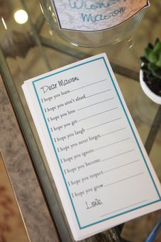 "Baby shower- ""Wishes for..."" card"
