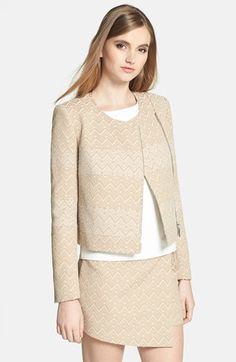 1.STATE Asymmetrical Zip Chevron Bouclé Jacket $168 available at #Nordstrom
