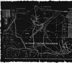 """San Fernando Homestead Association Map of San Fernando Valley. This map was reproduced from several original maps which are filed in the Los Angeles County Clerk's office by the Santa Clarita National Bank. It originates from an 1871 survey. It reads, """"Plat of the Ex-Mission de San Fernando."""" Compiled October, 1989. San Fernando Valley History Digital Library."""