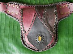 Tribal leather waist bag - handmade utility belt with gemstone and pathwork design this unique and carefully crafted, special pocket belt will make you fall in love with it over and over again. Handmade upcycled patchwork leather with 3 matching colours (handcolored) hand #handmadeleatherbeltspockets