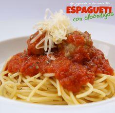 ESPAGUETI CON ALBÓNDIGAS http://jugandoalascocinitas-silvia.blogspot.com.es/2014/02/espaguetis-con-albondigas.html