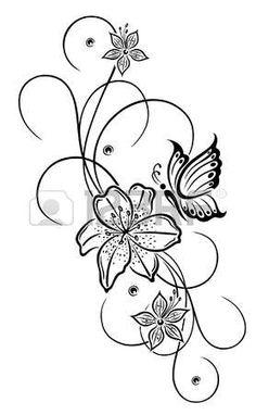 Flores de lis y abstractos hermosos con la mariposa photo