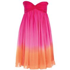 pink, red and orange strapless ombre summer dress Glitzy Fas ...