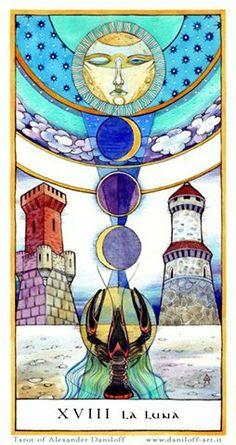 Tarot by Alexander Daniloff 2010 Major Arcana on Behance Yi King, The Moon Tarot Card, Tarot Major Arcana, Illustration, Oracle Cards, Tarot Decks, Occult, Intuition, Artwork